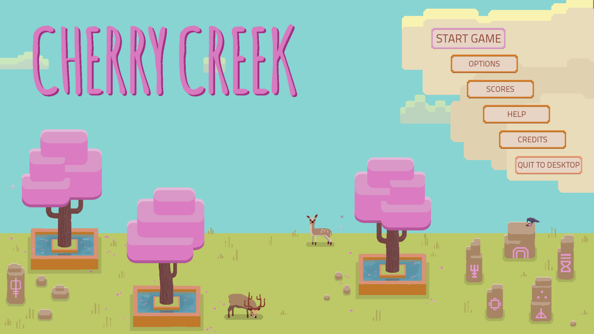 Screenshot showing the title screen of Cherry Creek.